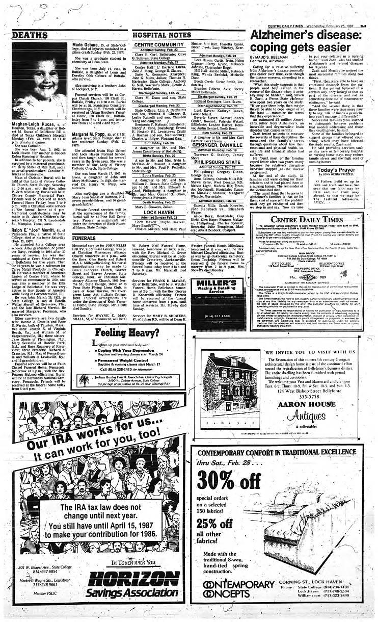 04fca41cfa5a Marie Gebura - Centre Daily Times Index, 1937-2011 - Penn State ...