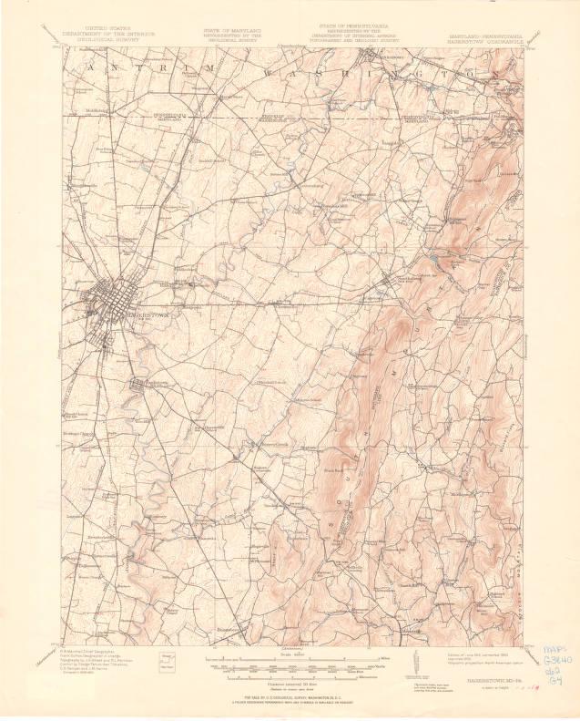 Hagerstown quadrangle, Maryland-Pennsylvania : 15 minute series ...
