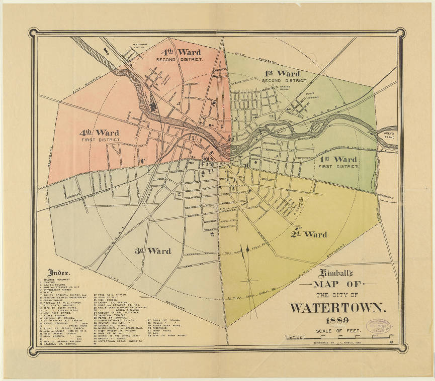 Kimball\'s map of the city of Watertown, 1889. - Digital Map ...