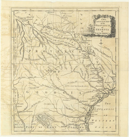Map Of America Georgia.A New And Accurate Map Of The Province Of Georgia In North America