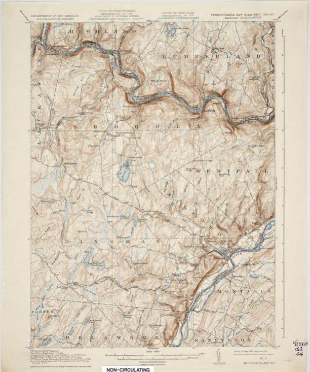 Map Of New York Pa.Milford Quadrangle Pennsylvania New York New Jersey 15 Minute