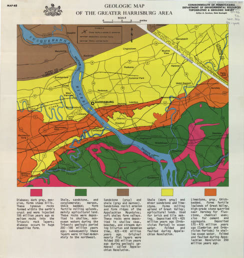 Geologic map of the greater Harrisburg area - Pennsylvania Geology on map of pennsylvania intermediate units, map of pennsylvania districts, map of pennsylvania municipalities, map of pennsylvania industry, map of pennsylvania train stations, map of pennsylvania resorts, map of pennsylvania counties, map of pennsylvania prisons, map of reading pennsylvania high schools, map of pennsylvania pharmaceutical companies, map of pennsylvania with colleges, map of pennsylvania hotels, map of pennsylvania history, map of pennsylvania forts, map of pennsylvania roads, map of pennsylvania electric utilities, map of pennsylvania golf courses, map of pennsylvania manufacturing, map of pennsylvania zoos, map of pennsylvania breweries,