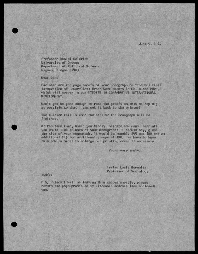 Letter To Professor Daniel Goldrich June 9 1967 Page 1 Of 4