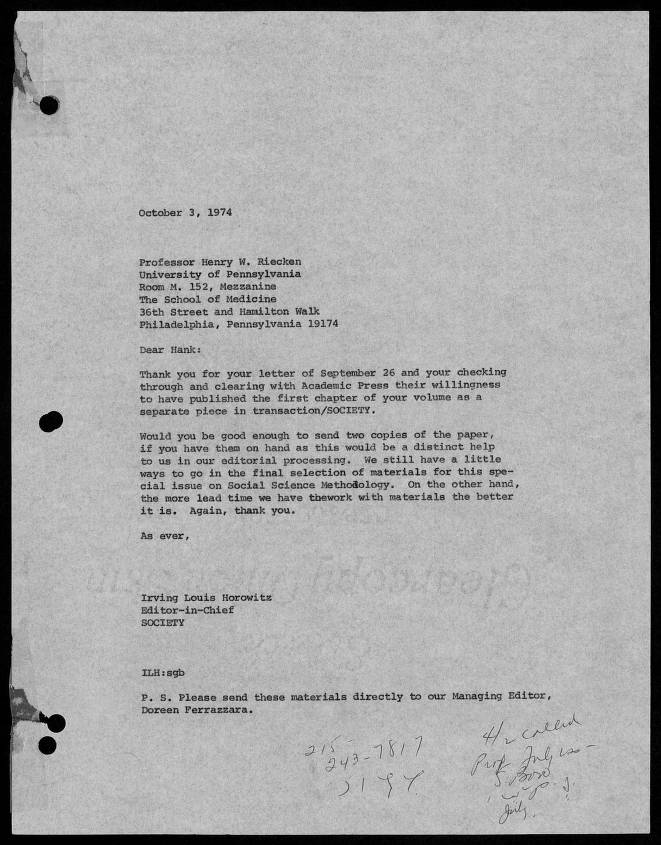 Letter to Professor Henry W  Riecken, October 3, 1974, page